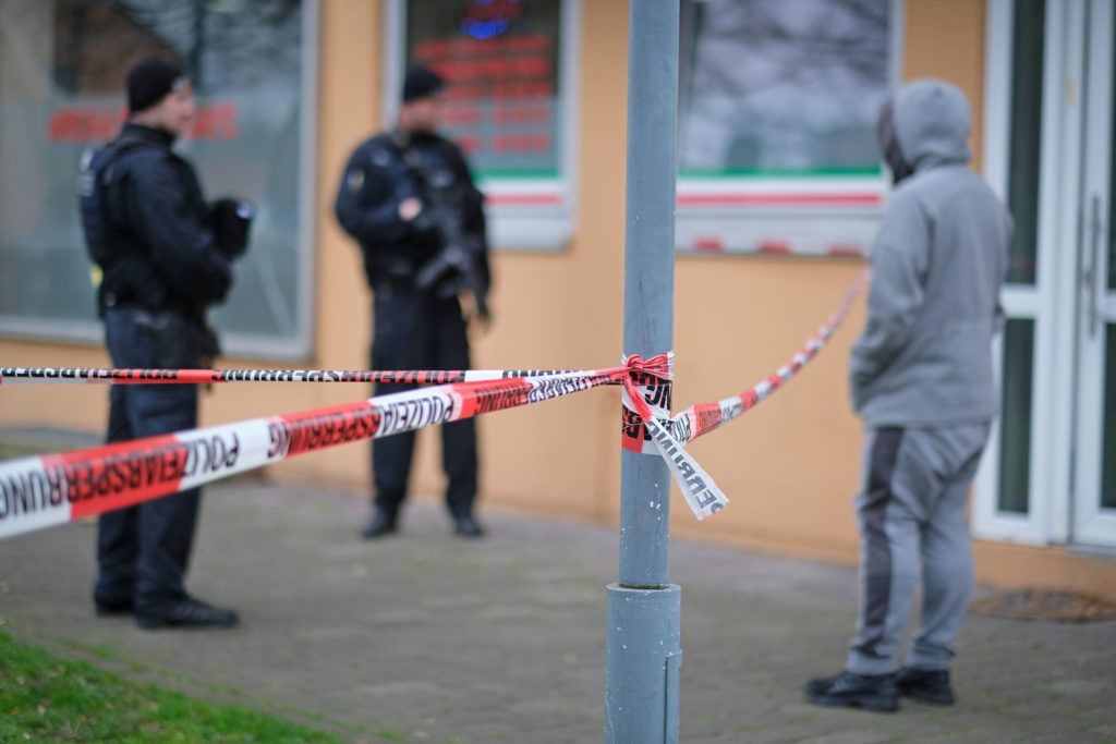 Abgesperrter Tatort in Hanau